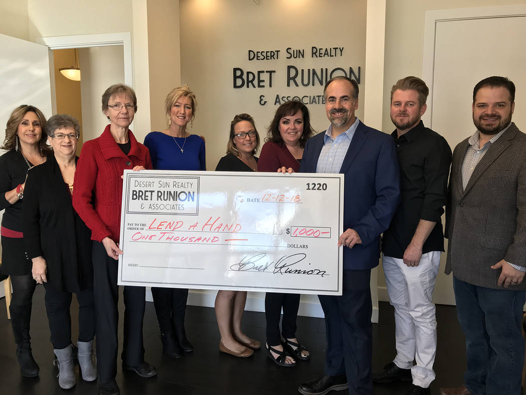 (Hali Bernstein Saylor/Boulder City Review) Realtors at Desert Sun Realty donate a portion of each completed transaction to a special fund to benefit community organizations, including Lend A Hand ...