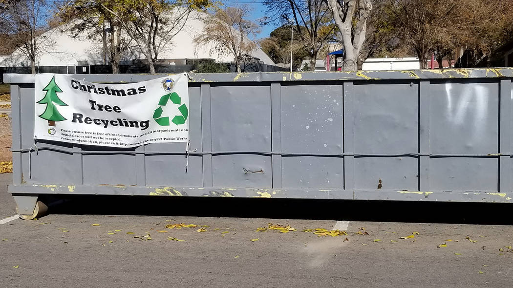 Celia Shortt Goodyear/Boulder City Review Residents can recycle their Christmas trees for free from Dec. 26 to Jan. 14 by dropping them off at this recycling container at Bravo Field near the corn ...