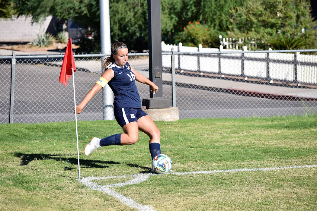 Makenna Aboreen, seen in September in a match against SLAM Academy, received an honorable mention on the Nevada all-state soccer team.