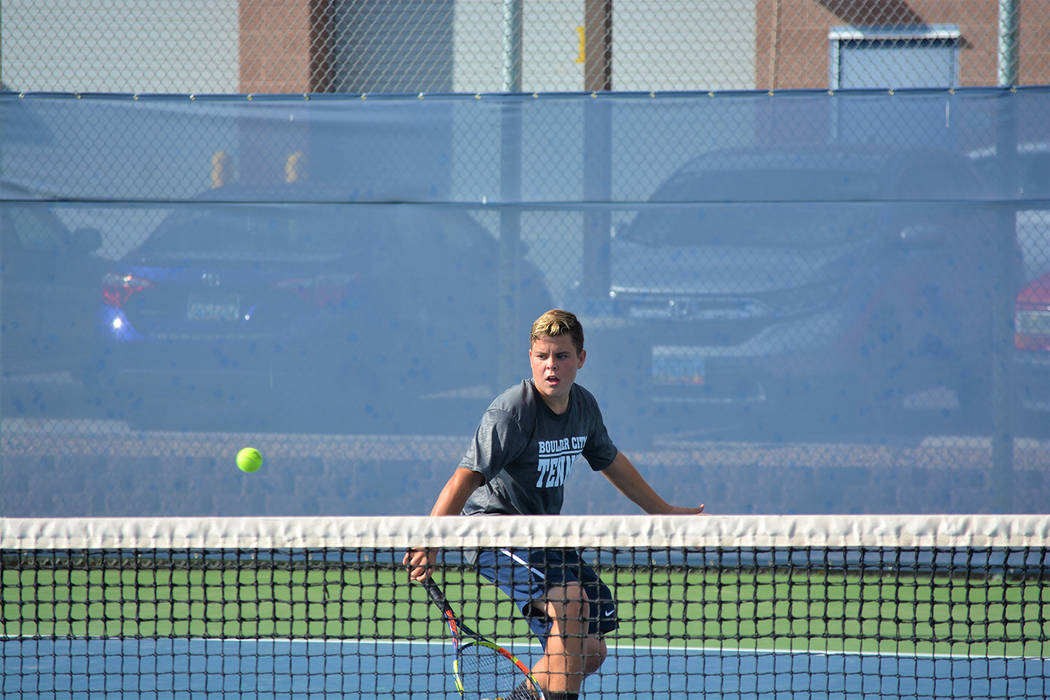 Boulder City High School junior Connor Mikkelson, seen at the 3A Southern Region tournament in October, was named to the Nevada all-state's first team for tennis.