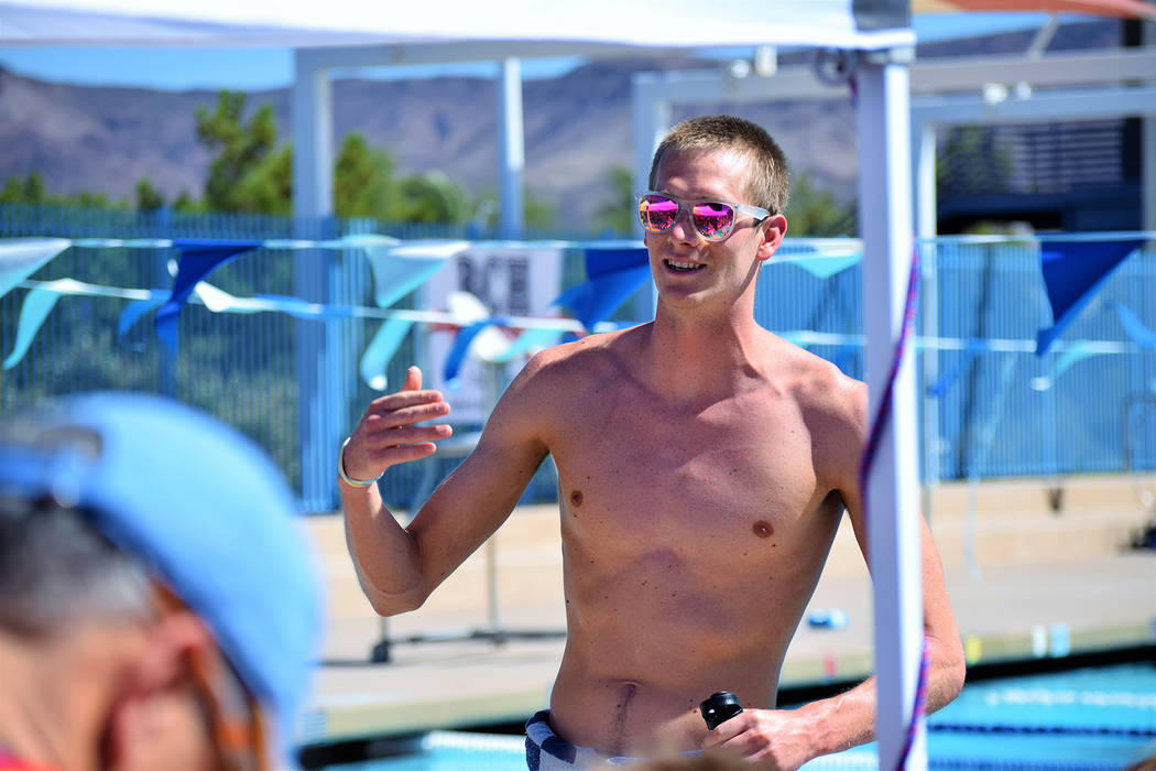 Zane Grothe, seen in September at a clinic for the Boulder City-Henderson Heatwave, placed in the top five in two events at the 2018 FINA World Swimming Championships Dec. 11-16 in Hangzhou, China.