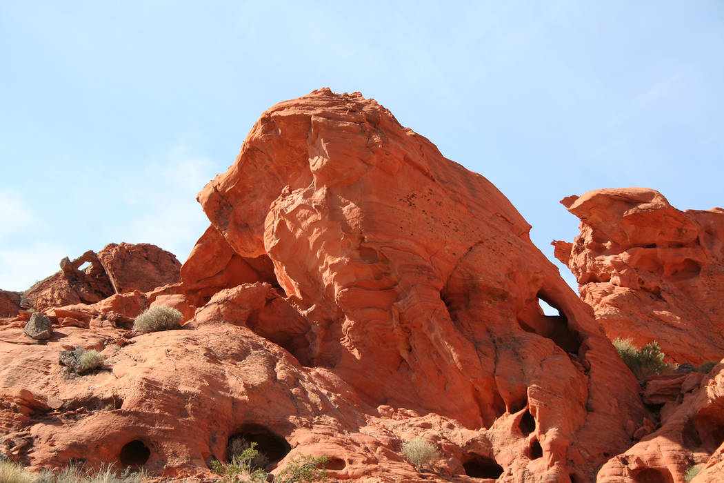(Deborah Wall) The fiery red outcropping named Bowl of Fire in Lake Mead National Recreation Area features sandstone formations similar to Valley of Fire state park.