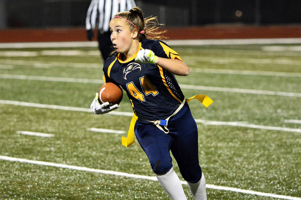 Boulder City High School junior Makena Arboreen is using her speed and experience as a soccer player help the Lady Eagles regain their position atop the flag football standings.