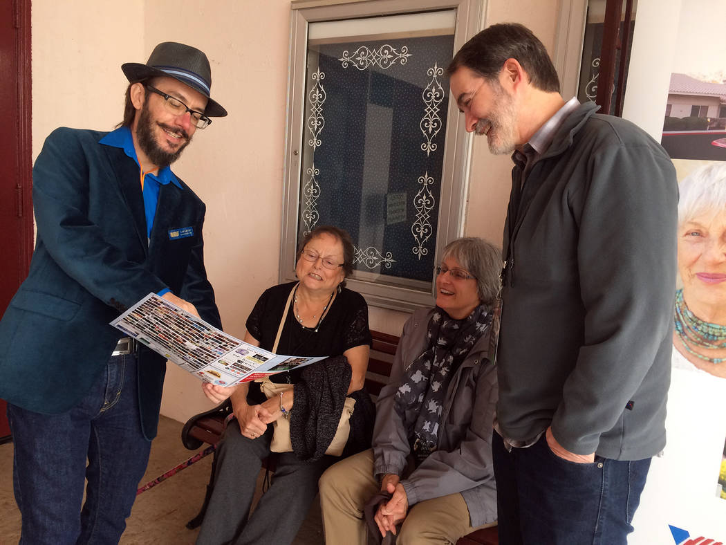 Lee Lanier, left, co-founder of the Dam Short Film Festival, goes over the 2017 schedule of events with visiting relatives. He recently retired from the festival's board to devote more time to his ...