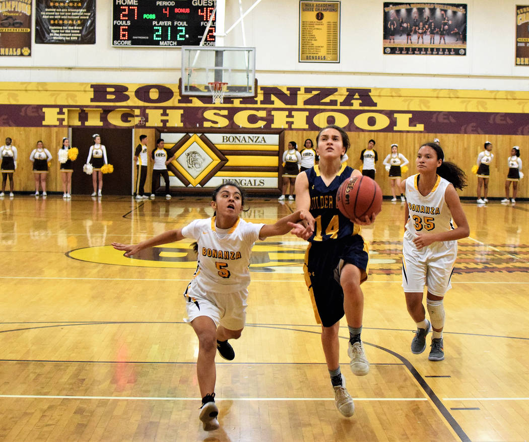 Boulder City High School junior guard Keely Alexander, seen playing against Bonanza on Dec. 3, was key in the Lady Eagles' success during the Gator Winter Classic at Green Valley High School durin ...