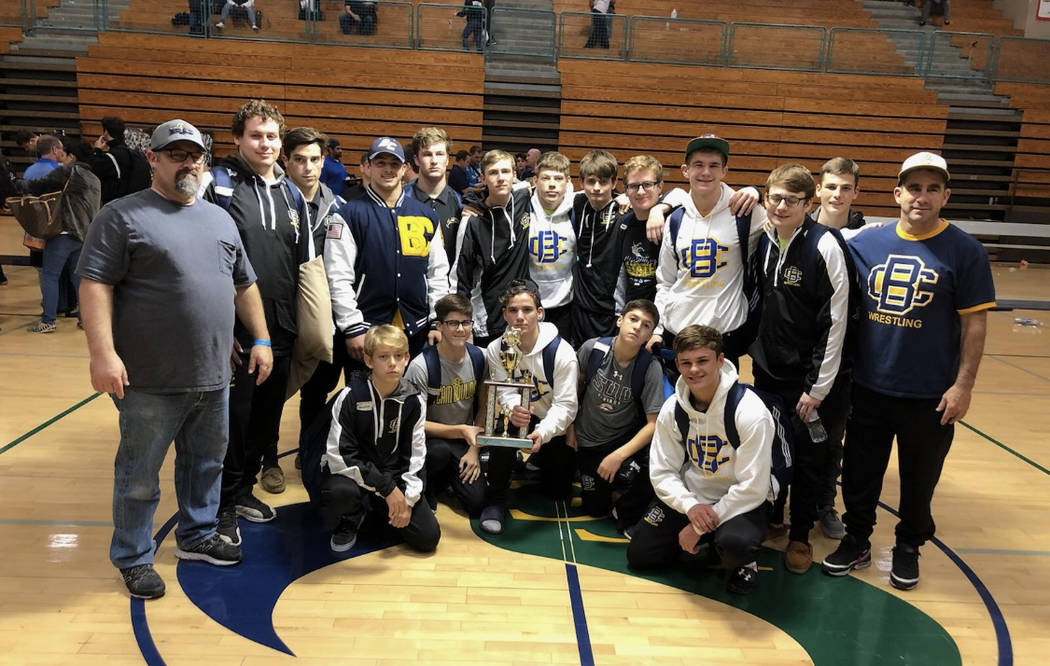(Kim Cox) Boulder City High School's wrestling team celebrates its fifth-place finish out of 55 team at the 2018 Jimmy Hamada La Costa Canyon Tournament held Dec. 7 and 8 in California.