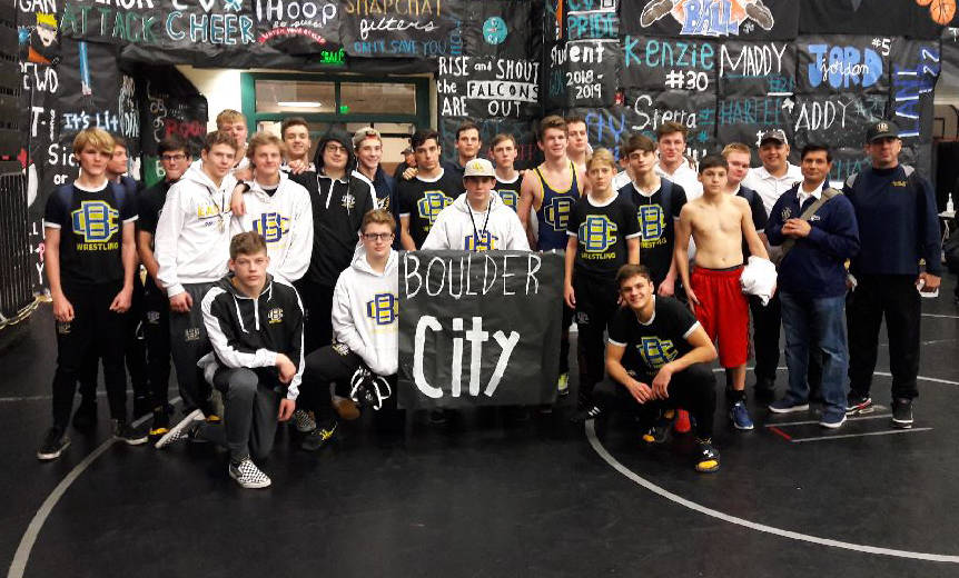 (Kim Cox) The Boulder City High School wrestling team won the silver bracket at the Iron Town Duals in Cedar City, Utah, on Saturday, Jan. 12, 2019, finishing with a record of 6-2.
