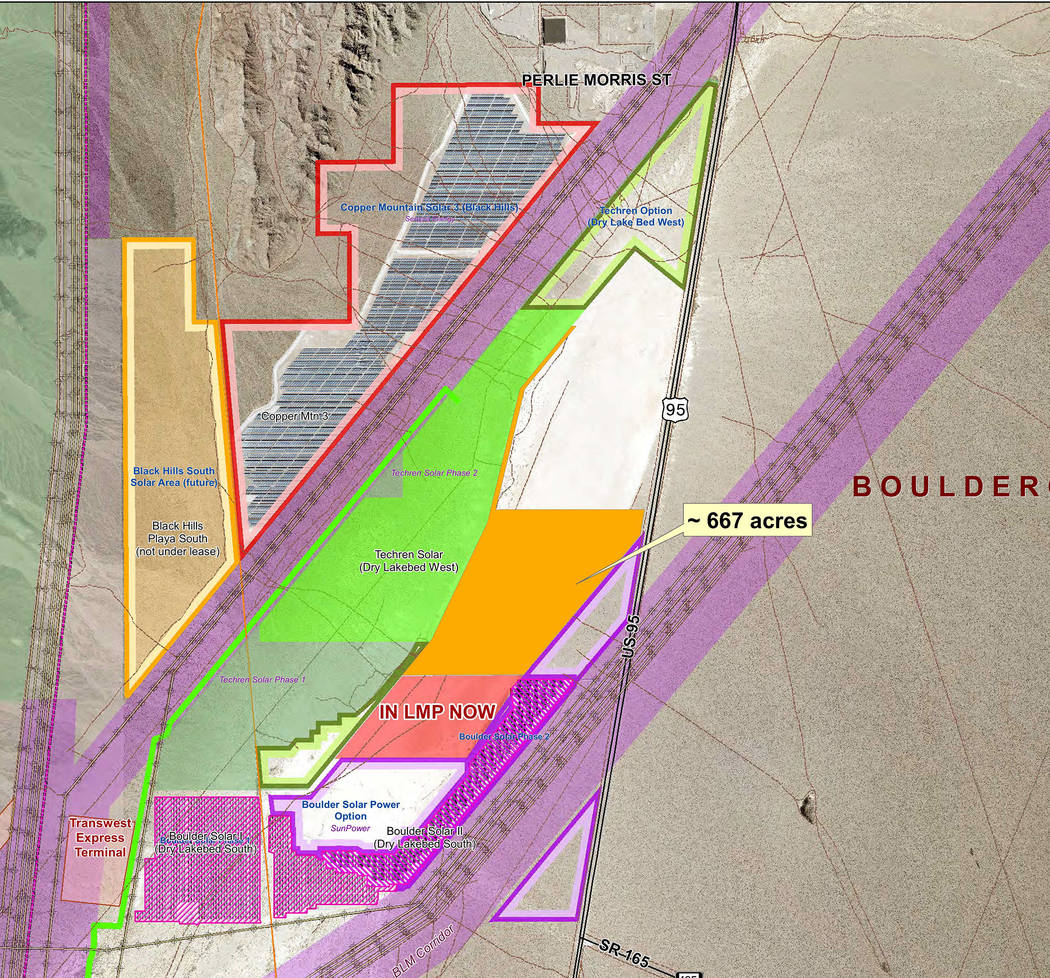 Silver Peak Solar LLC has withdrawn its request to add 667 acres of the dry lake bed in the Eldorado Valley to the land management plan for solar development.