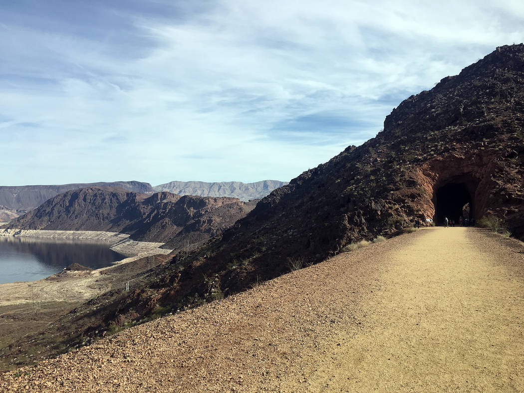 (Hali Bernstein Saylor/Boulder City Review) The Historic Railroad Trail at Lake Mead National Recreation Area offers views of Lake Mead as it follows the former railroad route used to transport eq ...