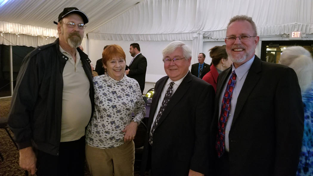 (Celia Shortt Goodyear/Boulder City Review) The mayor's State of the City event on Thursday, Jan. 17, was a time for residents and city staff including from left, Glenn Feyen, Judy Dechaine, City ...