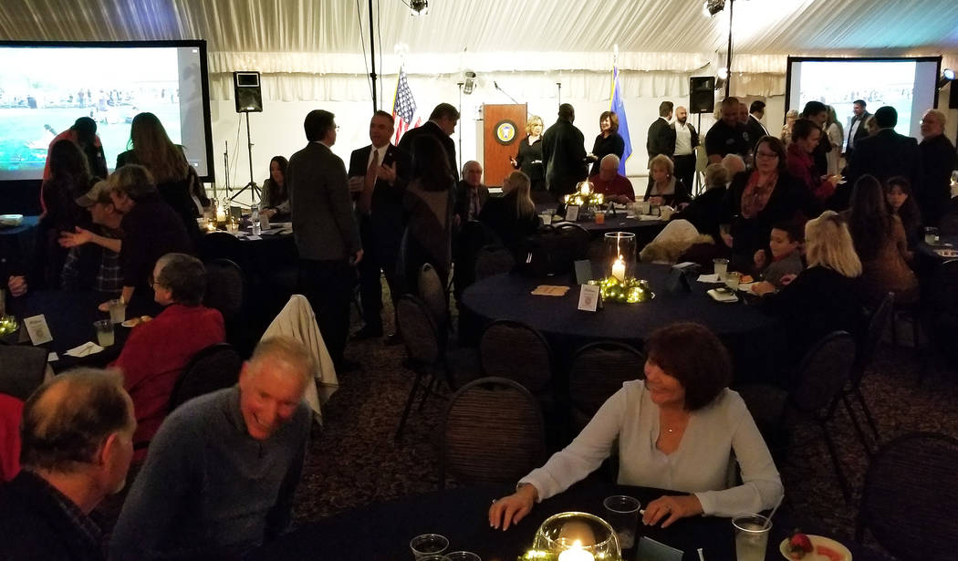 (Celia Shortt Goodyear/Boulder City Review) Boulder City Mayor Rod Woodbury's State of the City at the Boulder Creek Golf Club pavilion was well-attended by residents, business owners and state an ...