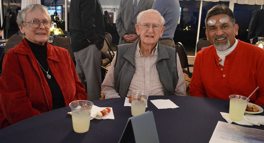 (Celia Shortt Goodyear/Boulder City Review) Boulder City residents, from left, Barbara Adams, Paul Adams and Mike Hernandez enjoyed catching up at the mayor's State of the City address at the Boul ...