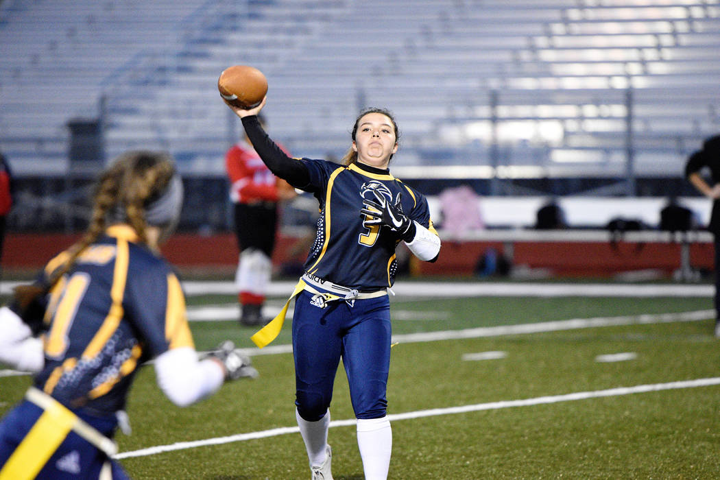 (Robert Vendettoli/Boulder City Review) Boulder City High School junior quarterback Makaela Perkins unwinds for a downfield pass Jan. 16 against Western in the Lady Eagles' 26-25 victory.