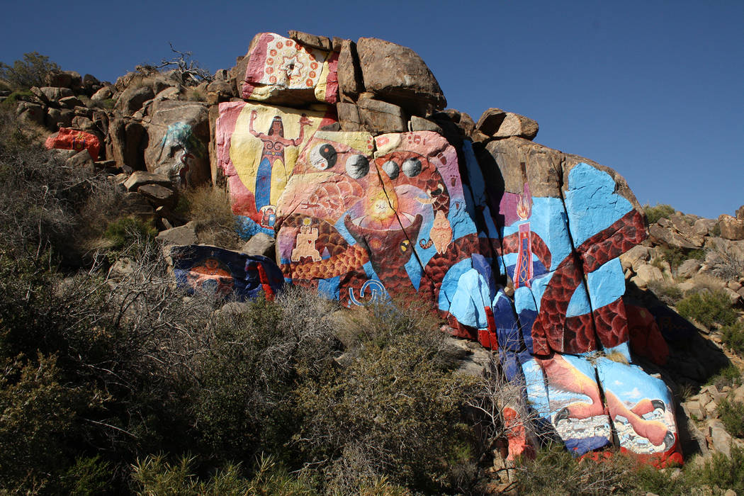 (Deborah Wall) Artist Roy Purcell's murals are found in a canyon at the base of the Cerbat Mountains near Chloride, Arizona.