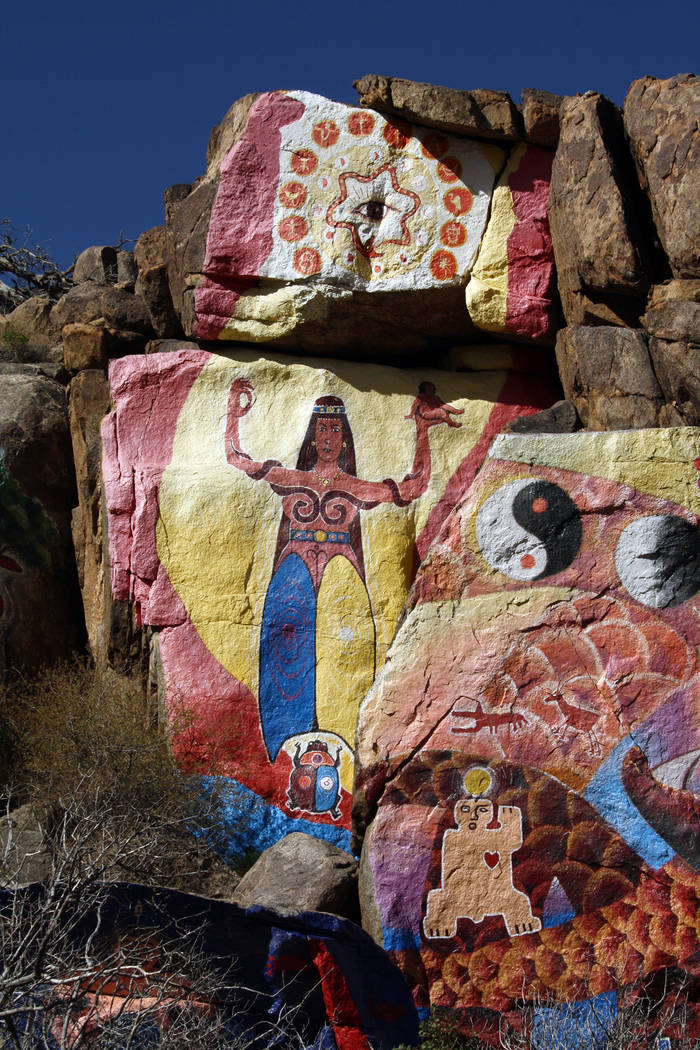 "(Deborah Wall) Roy Purcell painted the murals in 1966, labeled ""The Journey: Images From an Inward Search for Self"" near Chloride, Arizona."