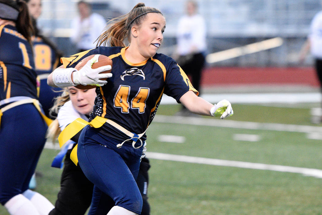 (Robert Vendettoli/Boulder City Review) Boulder City High School junior Makena Arboreen rushed for 31 yards on seven carries and catching five passes for 25 yards in the Lady Eagles' 28-13 victory ...