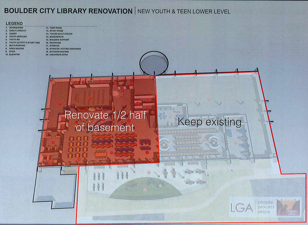 (Boulder City Library) The revised renovation for the Boulder City Library would build out only a half of the basement rather than all of it, which was previously proposed.