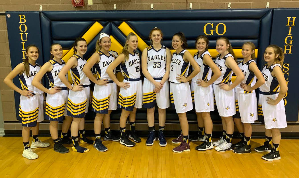 (Kristin Estes) Members of Boulder City High School's varsity girls basketball team, from left, Keely Alexander, Madisan Manns, Hannah Estes, Kailee Fisher, Sophia Morris, Ellie Howard, Setia Cox, ...