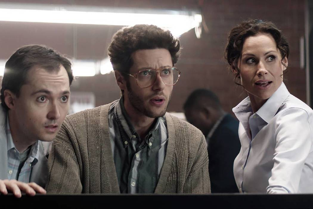 """(Joe Russell) The short film """"Laboratory Conditions"""" starring, from left, Robert Scheid, Paulo Costanzo and Minnie Driver is being screened at the 15th annual Dam Short Film Festival that runs tod ..."""