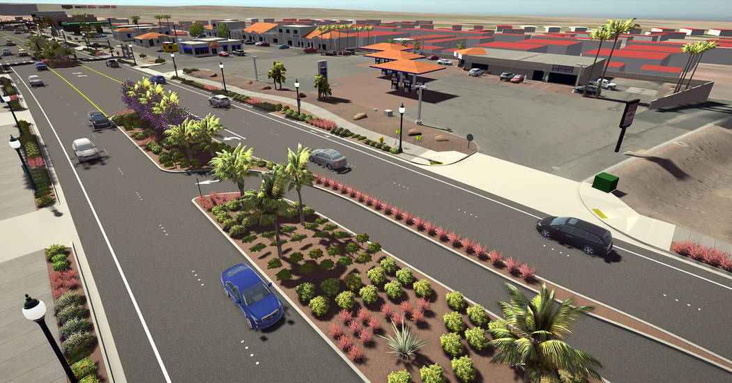 (Meadow Valley Contractors Inc.) New sidewalks, curbs, gutters, landscaping will highlight the complete street project on Boulder City Parkway, which is anticipated to start in June and be complet ...