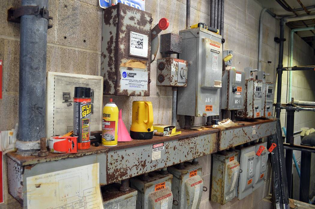 The equipment in the mechanical room at the Boulder City Pool is rusted and in need of replacement.