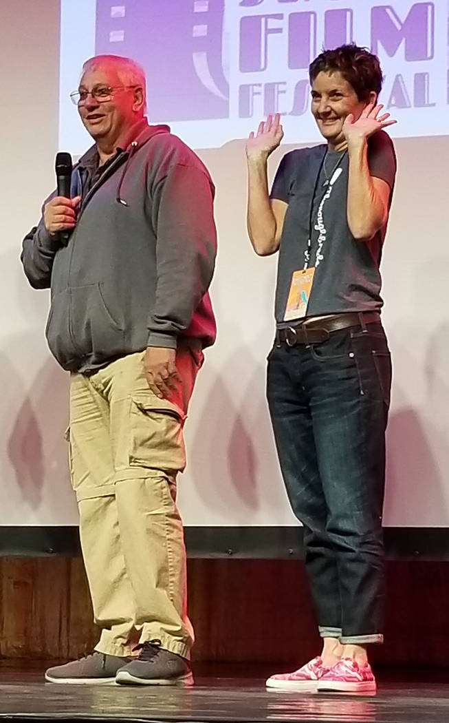 """Celia Shortt Goodyear/Boulder City Review Ron and Wendy Krajewski of Henderson greet the audience after the screening of the documentary """"My Paintbrush Bites"""" on Friday, Feb. 8, at the 15th annual ..."""