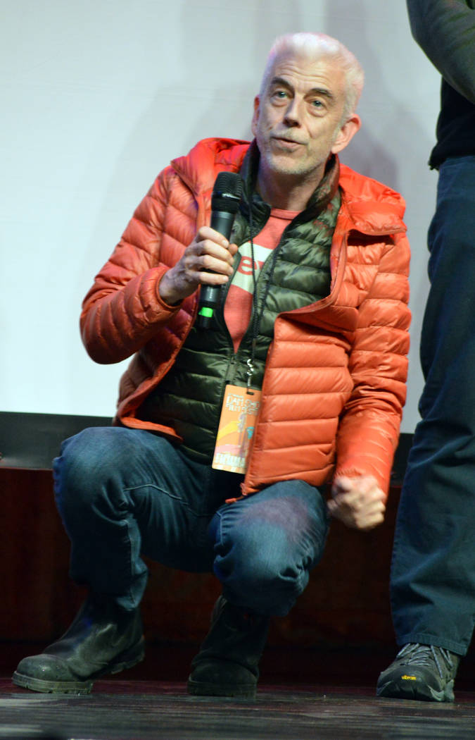 """Celia Shortt Goodyear/Boulder City Review Writer and director Mick Dow explains how a stunt was done in his short film, """"Hope in a Box."""" The film was screened at the 15th annual Dam Shor ..."""