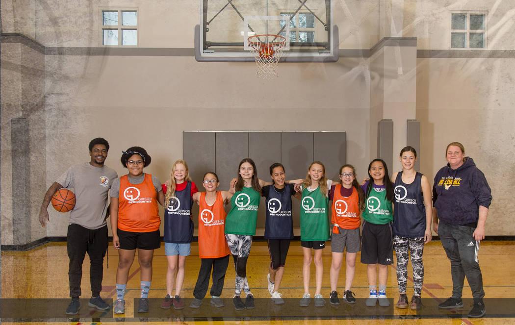 (28 Sunflowers) Members of the Boulder City Parks and Recreation Department's girls 3-on-3 basketball league include, from left, J.J. Gray, Jasmine Broadbent, Hazel Hardy, Jennifer Wammack-Freshou ...