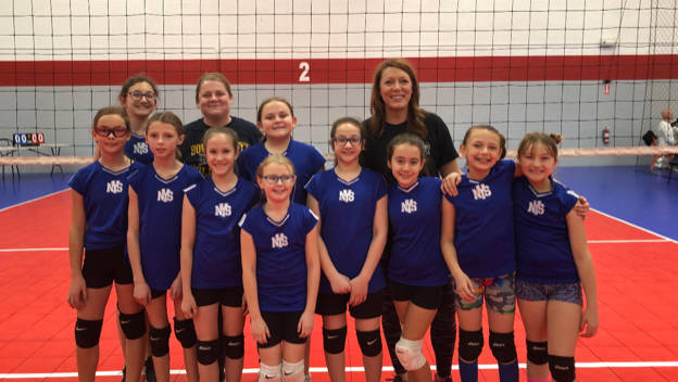 (Kelly Lehr) Representing Boulder City in the Nevada Youth Sports League's volleyball team for third- through fifth-graders are, front row, from left, Sierra Ripplinger, Ivy Dineen, Mariah Torgese ...