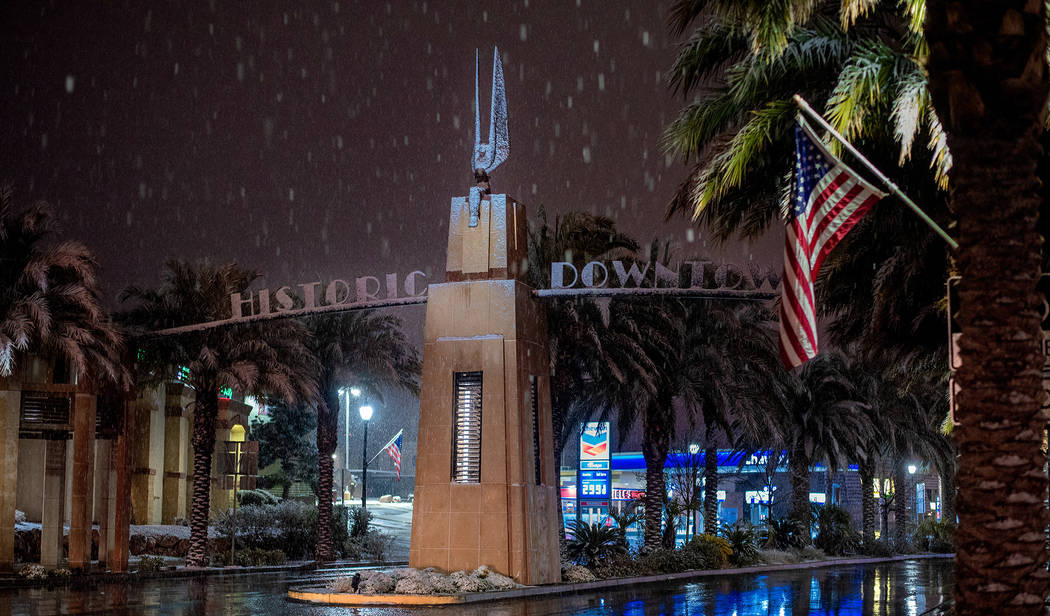 (Karl Larson) The first major snow in 10 years came down in Boulder City on Sunday evening. It was reported that more than an inch accumulated.