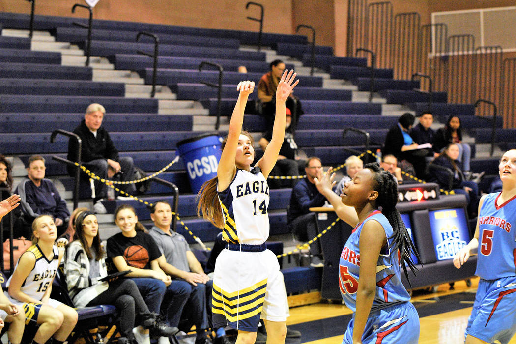 (Robert Vendettoli/Boulder City Review) Junior guard Keely Alexander follows through on a 3-point attempt against Western in the first round of the Class 3A postseason on Tuesday, Feb. 19, 2019. T ...