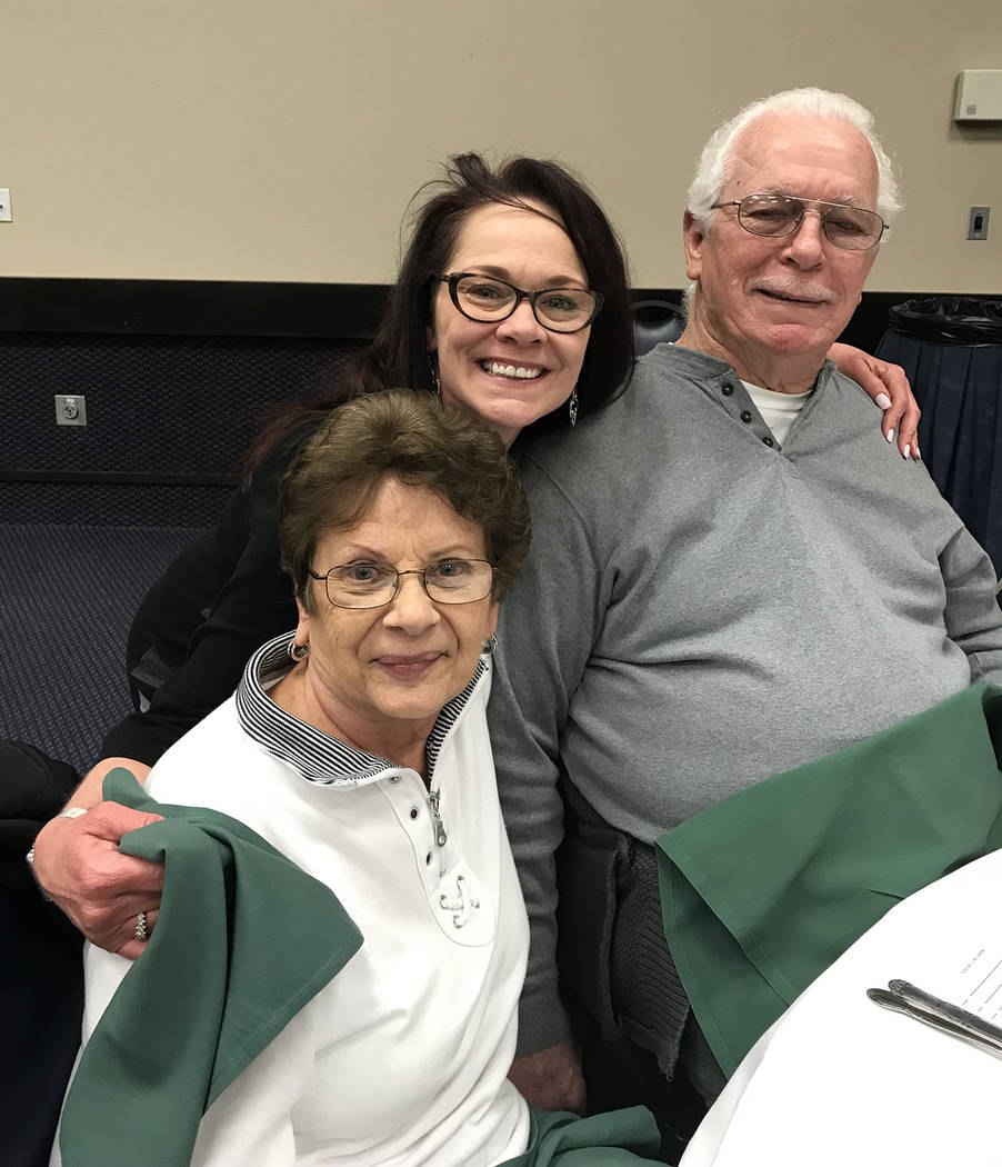 (Hali Bernstein Saylor/Boulder City Review) Joan and George Slocum were accompanied by their daughter Rebeckah Yeager, center, at Wednesday's, Feb. 20, 2019, annual membership meeting and dinner f ...