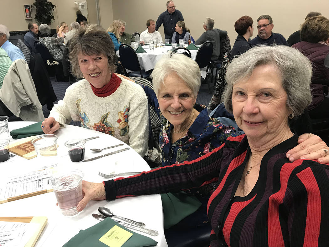 (Hali Bernstein Saylor/Boulder City Review) Friends, from left, Kathleen White, Judee Mikolanis and Joan Sharpe were among those attending the Boulder Dam Credit Union's annual membership meeting ...