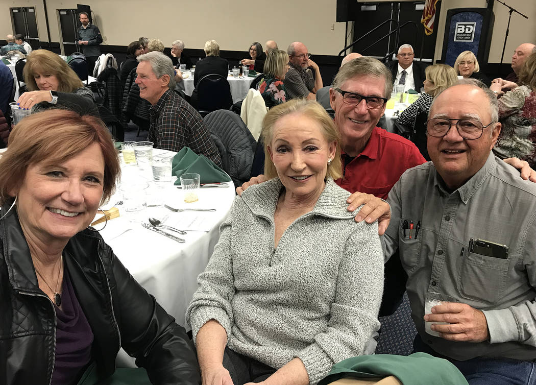 (Hali Bernstein Saylor/Boulder City Review) Among those enjoying the Boulder Dam Credit Union's annual membership meeting and dinner were, from left, Mary Nelson, Christine Milburn, Gene Breeden a ...