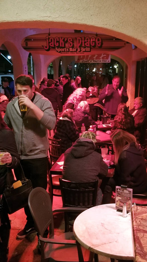 (Celia Shortt Goodyear/Boulder City Review) People fill Jack's Place on Friday, Feb. 22, as part of the third annual Xi Zeta Rosie Roll.