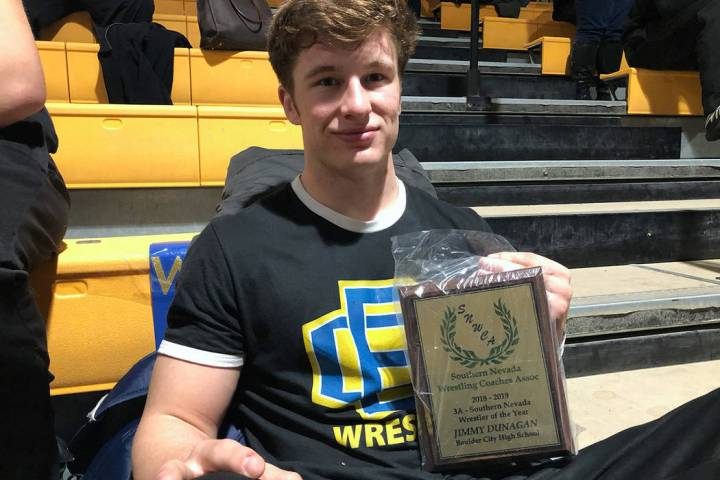 (Jim Cox) Boulder City senior wrestler Jimmy Dunagan is named the 3A wrestler of the year award by the Southern Nevada Wrestling Coaches Association.