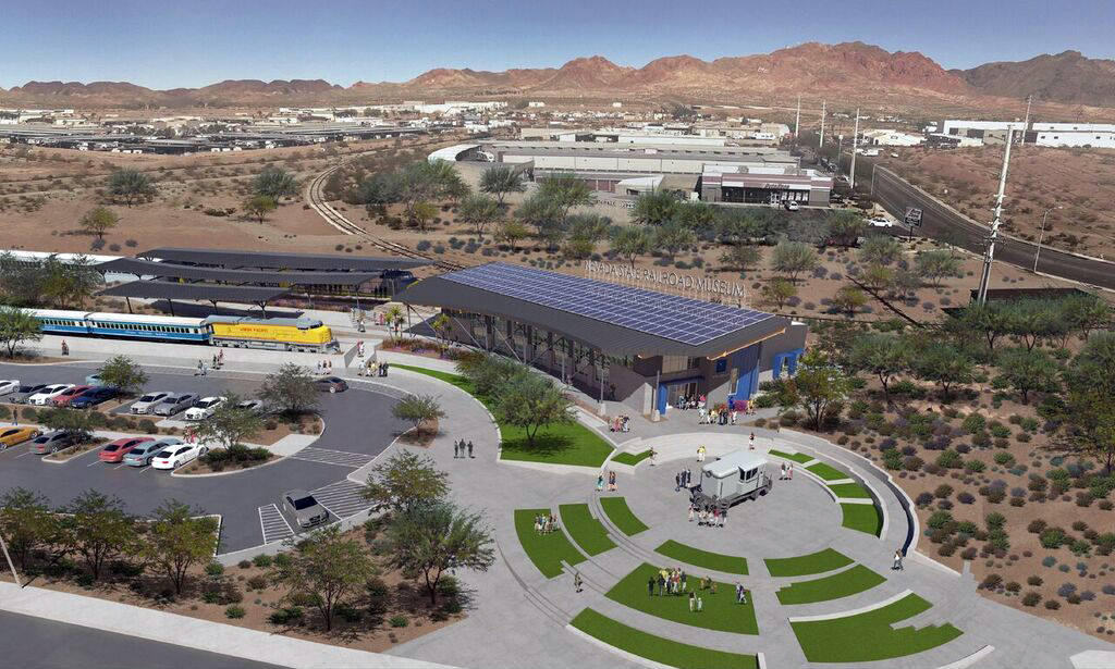 (LGA) This rendering is an aerial view of all three phases of the proposed expansion of the Nevada State Railroad Museum, 601 Yucca St.