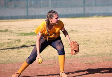 (Robert Vendettoli/Boulder City Review) Boulder City High School senior Ryann Reese, seen in a game last March against Western, will be a key player at bat and influencing her younger teammates.
