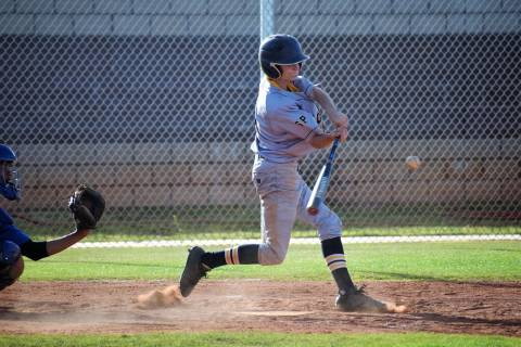 (Robert Vendettoli/Boulder City Review) Boulder City High School sophomore Troy Connell, seen connecting with a breaking pitch against Sierra Vista last April, is expected to be a key figure in th ...