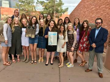 (Clark County) Members and coaches of Boulder City High School's girls volleyball team were recognized by Clark County Commission on Tuesday, March 5, 2019, congratulating them for winning the sta ...