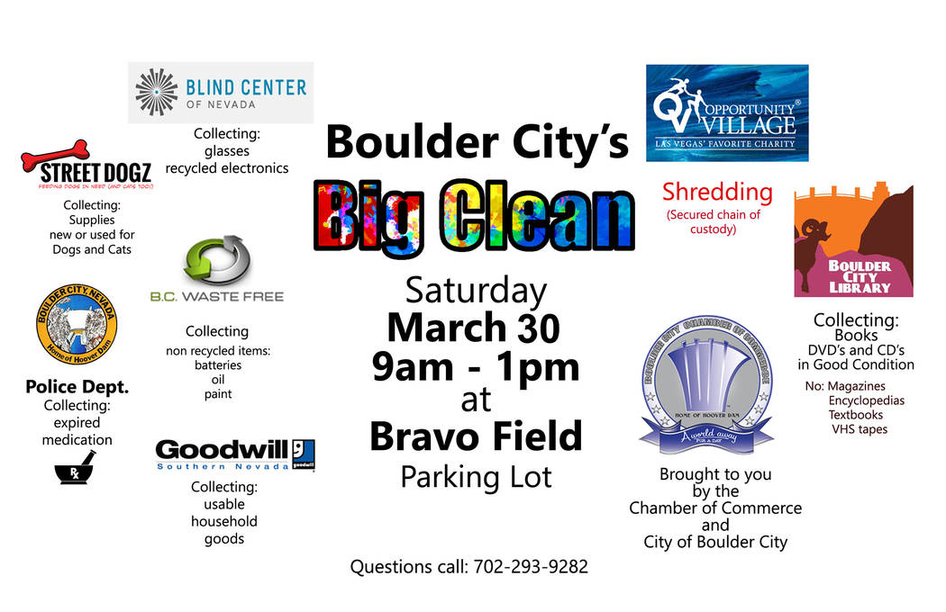 (Boulder City) Boulder City and Boulder City Chamber of Commerce are holding the second Big Clean event from 9 a.m. to 1 p.m. March 30 in the Bravo Field parking lot.