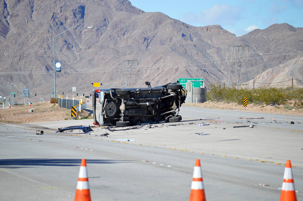 Celia Shortt Goodyear/Boulder City Review The driver a pickup truck was killed on Thursday, March 7, when the vehicle was hit by another car on U.S. Highway 93 in Boulder City.