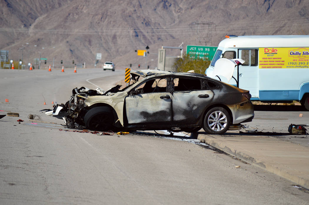 Celia Shortt Goodyear/Boulder City Review This car hit a truck on Thursday, March 7, on U.S. Highway 93 and killed the driver.