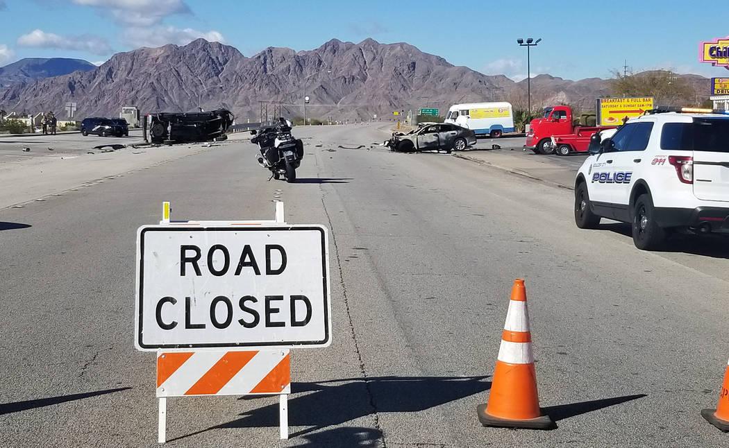 (Celia Shortt Goodyear/Boulder City Review) A fatal accident has shut down U.S. Highway 93 in Boulder City.