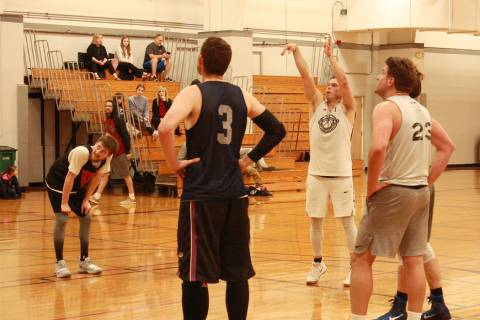 (Kelly Lehr) Rob Sandoval from Flight S2S shoots from the free-throw line in Boulder City Parks and Recreation Department's men's basketball league during the championship tournament March 5, 2019.