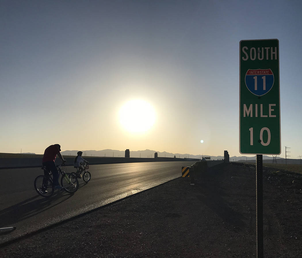 (File) Motorists traveling on southbound Interstate 11 should be prepared for delays as the Nevada Department of Transportation will close one lane between Railroad Pass and Wagonwheel Drive for r ...