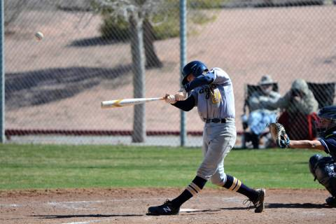 (Robert Vendettoli/Boulder City Review) Boulder City High School sophomore Scott Badhe hits a double to left center field in the sixth inning against 4A Foothill on Saturday, March 9, driving in a ...