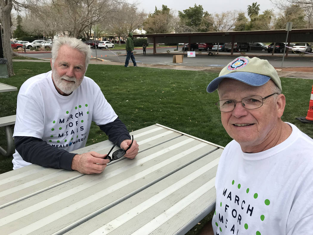 (File) Kevin Shambarger, left, and Kevin Britt attended the 2018 Rock, Roll & Stroll. This year's fundraiser to help raise awareness and funds for the Senior Center of Boulder City and its Meals o ...