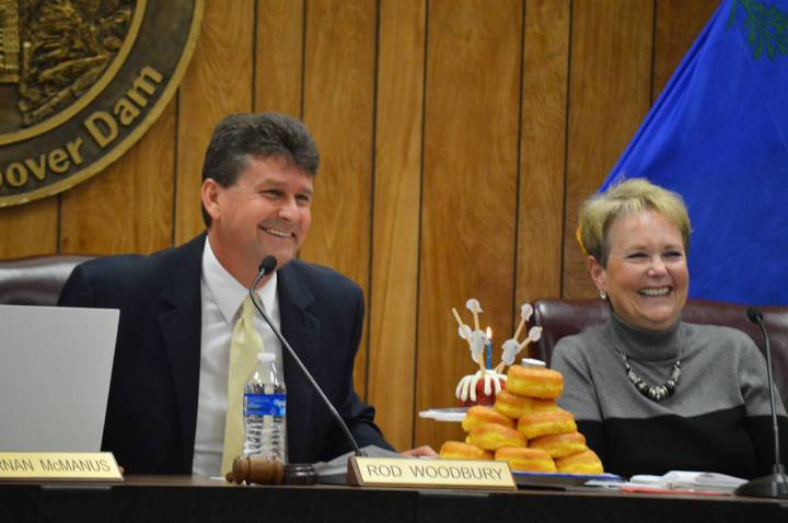(Celia Shortt Goodyear/Boulder City Review) Mayor Rod Woodbury was recognized for his upcoming birthday at the City Council meeting Tuesday, March 12. His family brought him a cake and doughnuts f ...