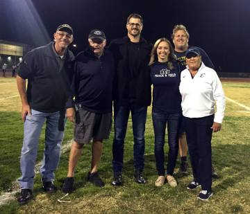 (File) Boulder City High School is seeking nominations for its Golden Eagle Hall of Fame class of 2019. The 2017 inductees from left, Bob Stoltz, Kevin Keegan, Shane Stemmer, Katie Palmer-Mackay, ...